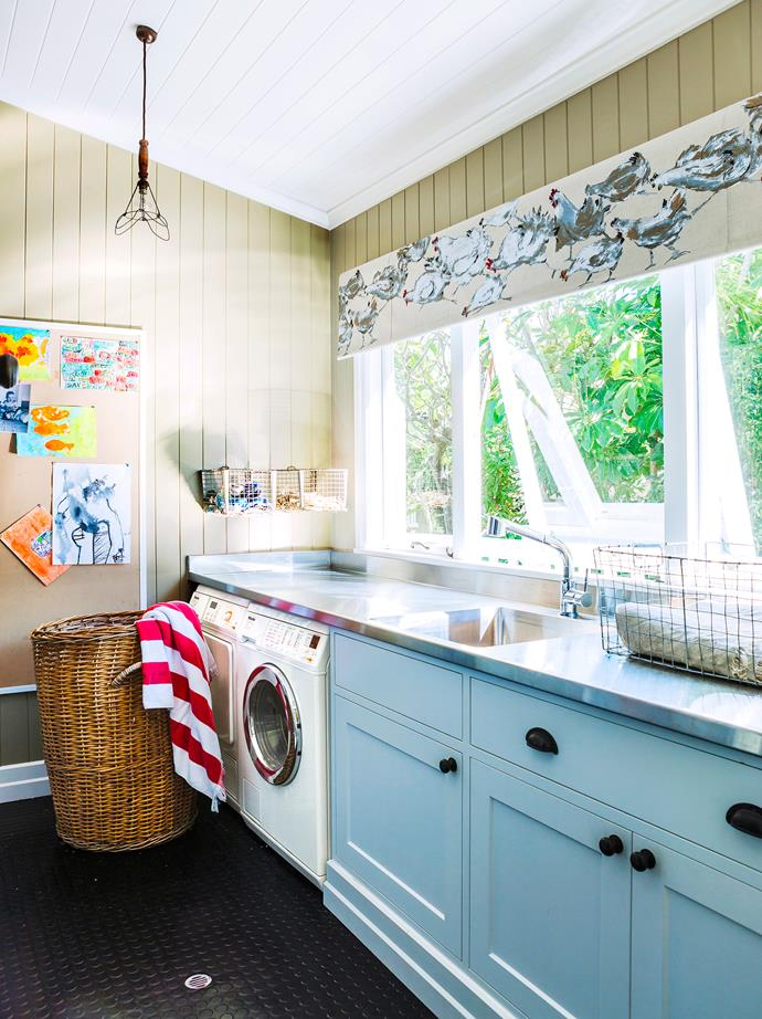 "Serving her family of six, this laundry is very practical, says Bettina Clark, interior designer with [Ascot Living](http://ascotliving.com.au/?utm_campaign=supplier/|target=""_blank""). ""We opted to use colour, painting the space with [Resene](http://www.resene.com.au/?utm_campaign=supplier/