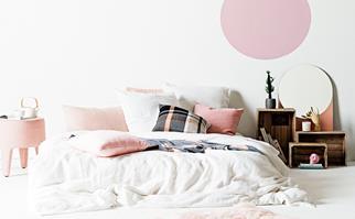 Stylishly decorated bed
