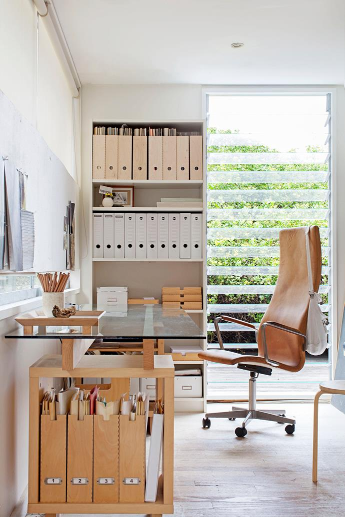 """Louvre windows in Diana's office were chosen for airflow and the play on lines. An [Arne Jacobsen](http://www.arne-jacobsen.com/en/arne-jacobsen