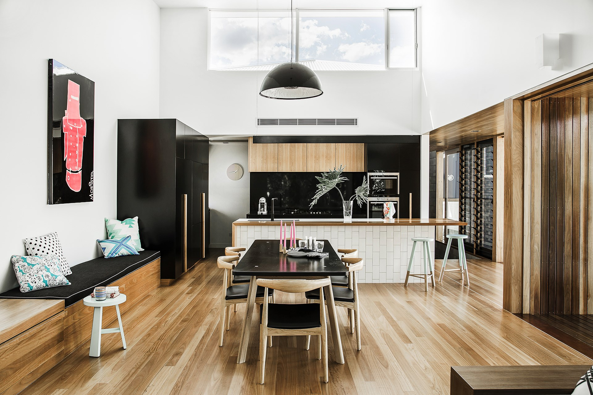 """We were after a really dramatic kitchen,"" says homeowner and interior designer Laura Stevenson. Soaring ceilings meant that the open-plan kitchen in this [contempoary family home](http://www.homestolove.com.au/gallery-laura-and-alistairs-contemporary-family-home-1719/?utm_campaign=supplier/