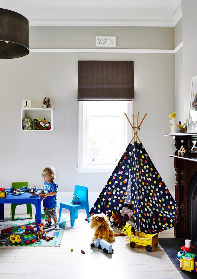 """Our kids can run around like crazy, play indoors and out, and hopefully grow up with fantastic memories of friends, fun and entertaining,"" says home owner Kara of her [Melbourne nursery](http://www.homestolove.com.au/gallery-legendary-racehorse-inspires-true-blue-renovation-1721/?utm_campaign=supplier/