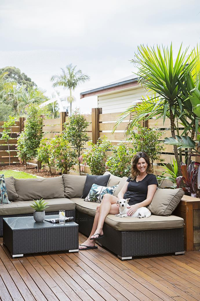 """Amy finished off the garden with tropical plants herself. """"We have neighbours very close,"""" she says. """"We planted mature bamboo and it has thickened up beautifully to give us the privacy we were after."""""""
