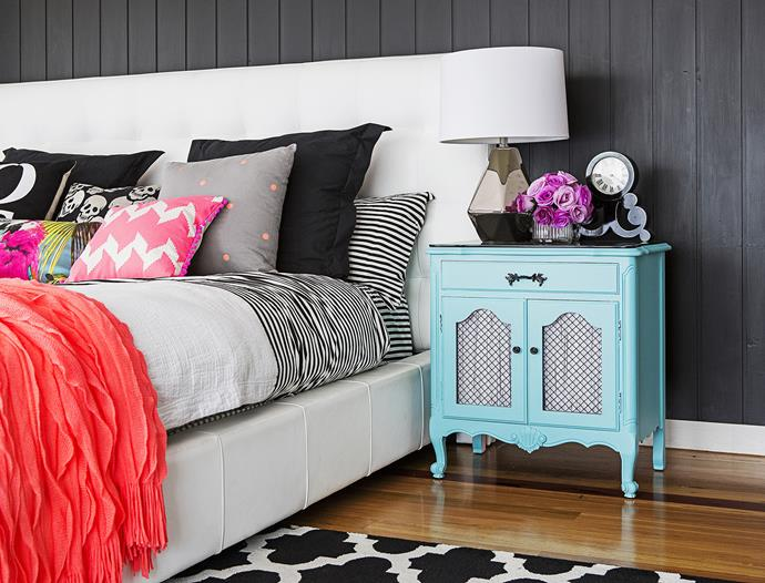 """Amy's best buy? """"The second-hand bedside tables in the main bedroom which I bought on eBay for $150. They're painted aqua to match my cushions – I just love them!"""""""