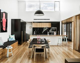 Contemporary open family living room