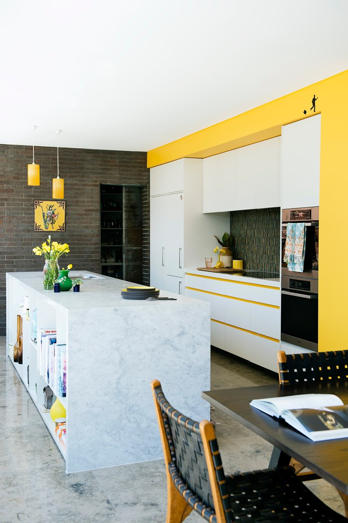 """A home filled with lively, energetic colour was a must for Imogen and Grant. """"I definitely wanted a yellow kitchen,"""" she says. Architect Sam Klopper of [Klopper & Davis Architects](http://www.kada.com.au/