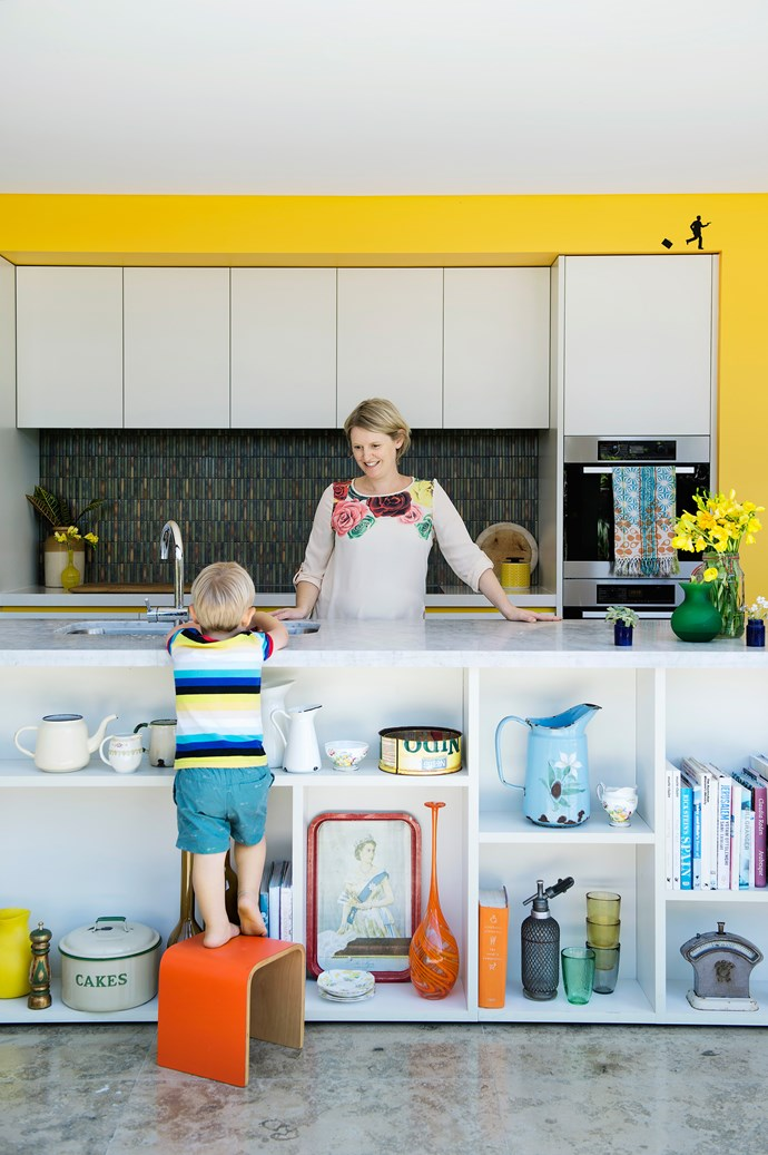 """""""The kitchen is just brilliant,"""" says Imogen. """"It's a breeze to keep clean, which is fortunate because I spend a lot of time there!""""   Child's **stool** from [In Your Room](http://www.inyourroom.com.au/
