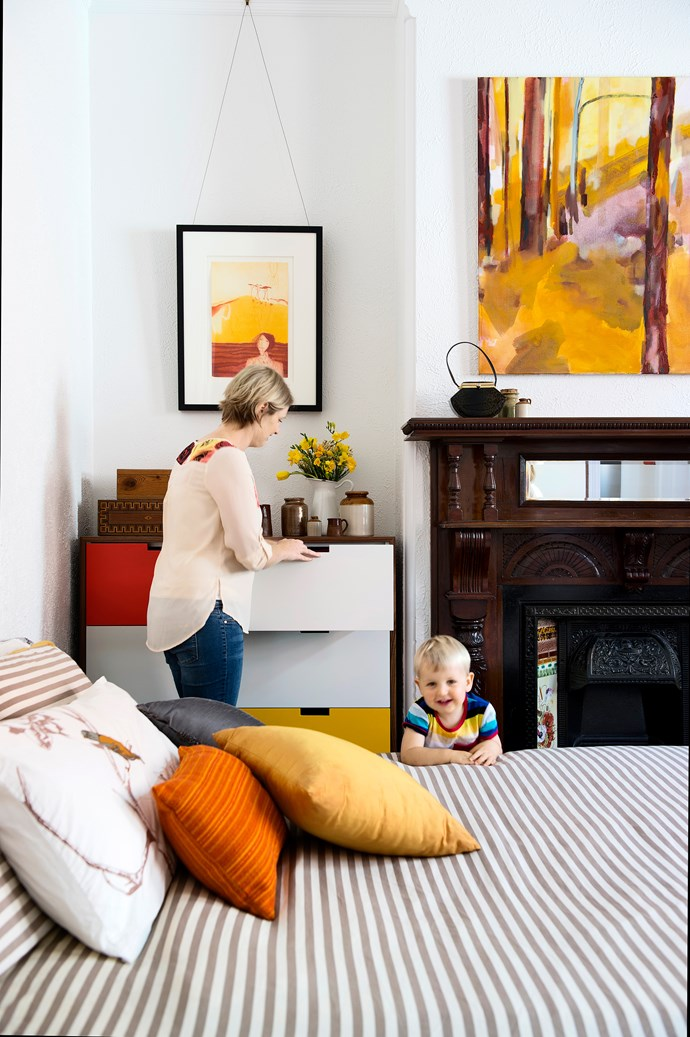 """The Federation mantelpiece – original and in perfect condition – was relocated from a downstairs bedroom. """"We've been able to combine period features with modern elements,"""" says Imogen.   **Chest of drawers** designed by architect Sam Klopper. [Dwell Studio](http://www.dwellstudio.com