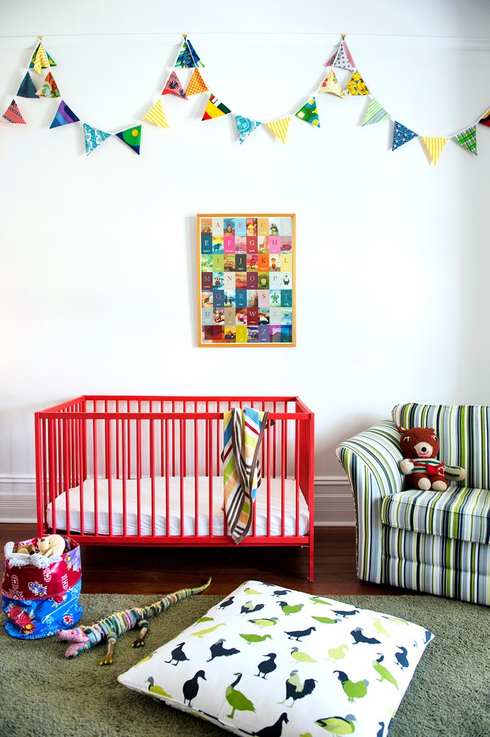 """The neutral base palette allows easy redecoration as Henry grows. For now, it is enlivened with toddler-friendly handmade bunting, toys and an alphabet artwork by [Caitlin Ziegler](http://www.zieglerdesign.net/