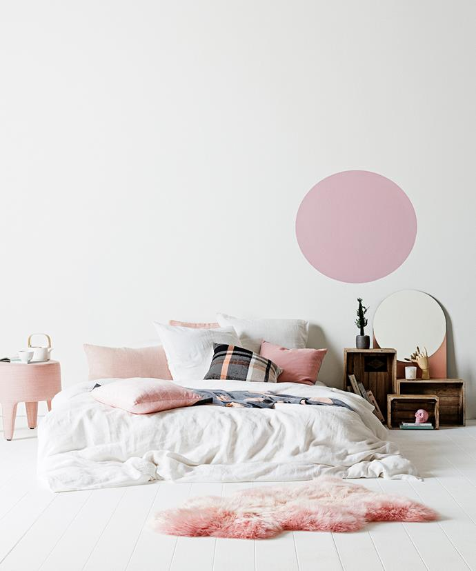 Be brave in the bedroom with your bedlinen choices. Photo: Felix Forest   Styling: Tahnee Carroll