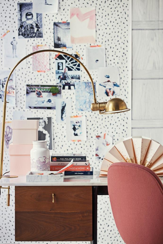 """Upholstered furniture, like this chair by Jaime Hayon, echoes the female form, while the wallpaper adds a little edge – with a nod to classicism in a black and white palette.   Burro **desk** from [Life Interiors](http://www.lifeinteriors.com.au/#axzz3fpGWSc12