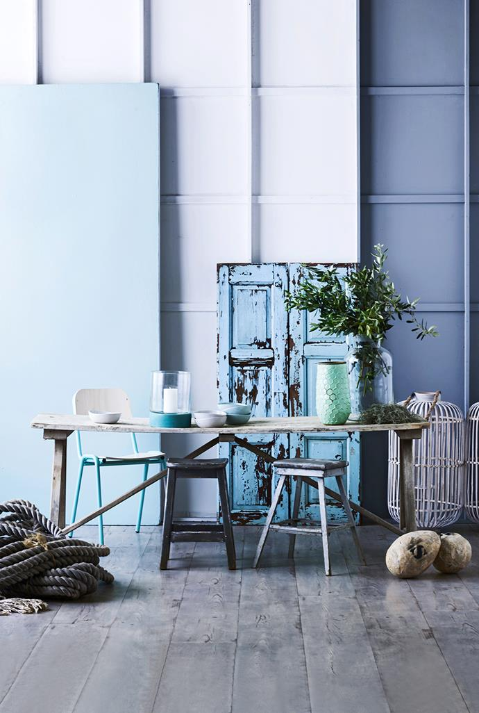 """Encourage relaxation with weather-beaten wares, alongside cool hues drawn from the sea. Pretty and chic, beach styling is all about creating a casual vibe in any space. Jake metal and plywood **chair** from [Koskela](http://www.koskela.com.au/