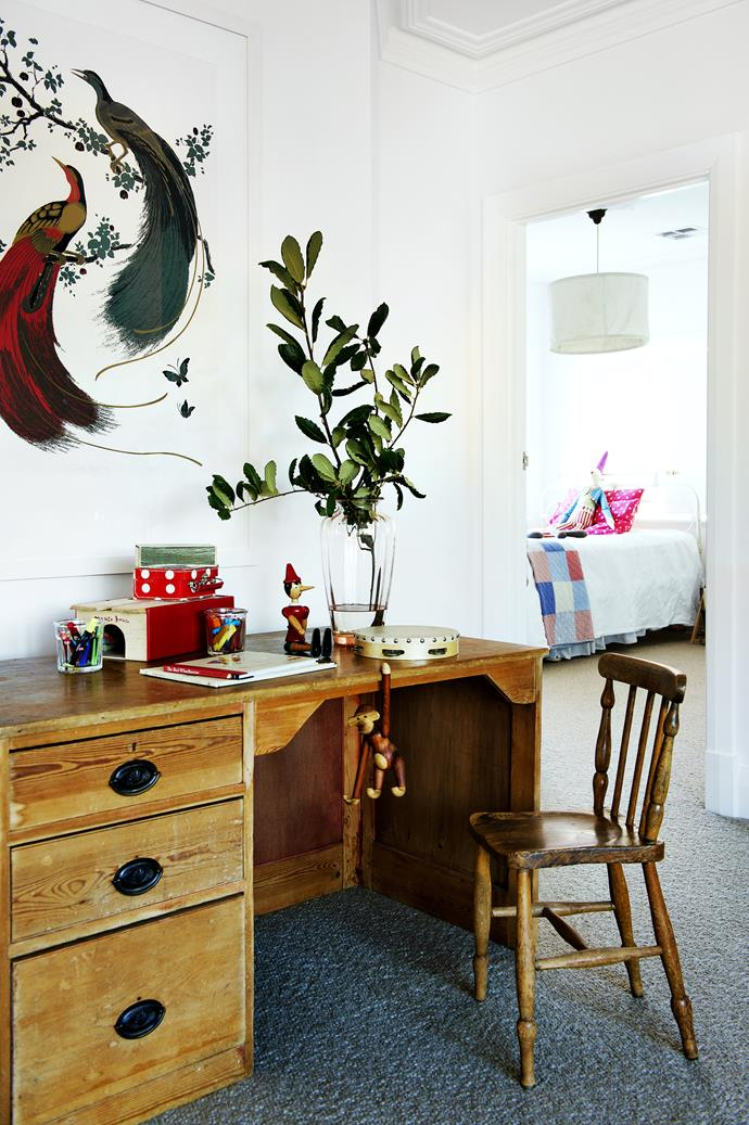 "This large open space off the upstairs landing performs many functions, one of which is as a place for the children to write and draw.   **Desk** from Trio Design Haus. *Exotic Birds* limited-edition **print** from [Signature Prints](http://www.signatureprints.com.au/|target=""_blank"")."