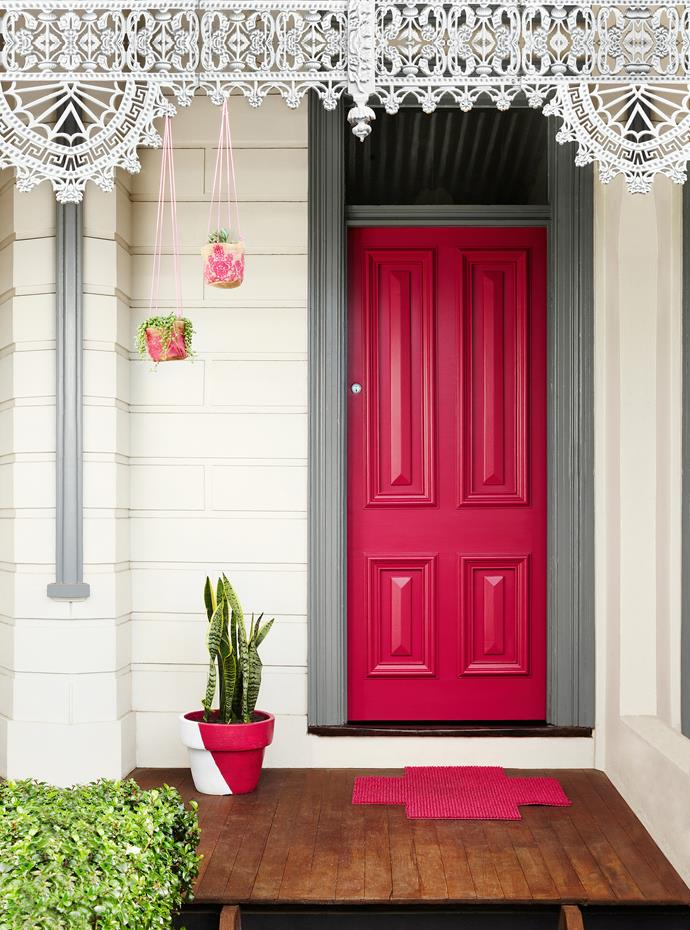 "Colour can set the mood and tone of your home at first sight. ""By creating an impact with a colourful front door, you give your guests a clue to what lies beyond the threshold,"" says Andrea Lucena-Orr, [Dulux](http://www.dulux.com.au/