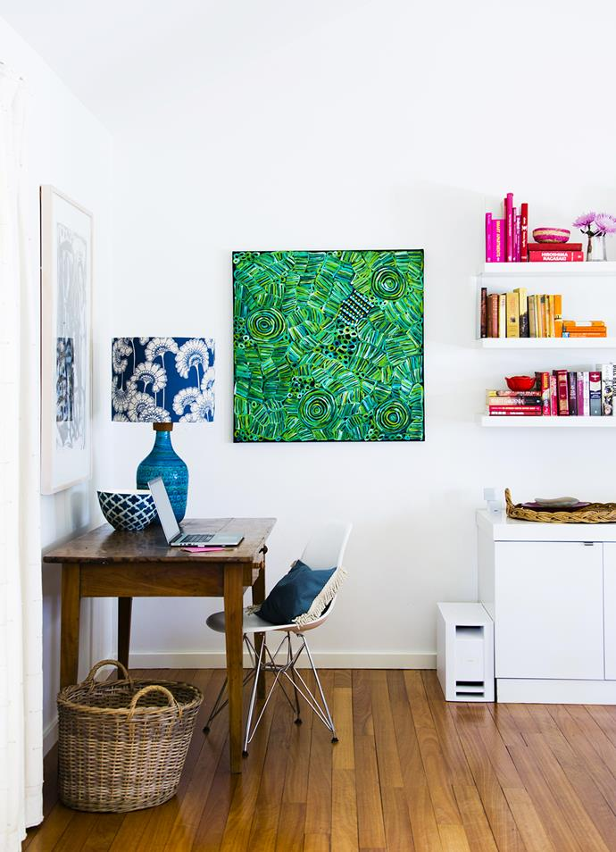 """Designer, bespoke, antique and secondhand treasures are artfully combined in the living room.  Antique **desk**. Vintage Italian **lamp** from Go Again Goodies, with Florence Broadhurst Japanese Floral **lampshade** from [Steal the Limelight](https://steal-the-limelight.com.au/