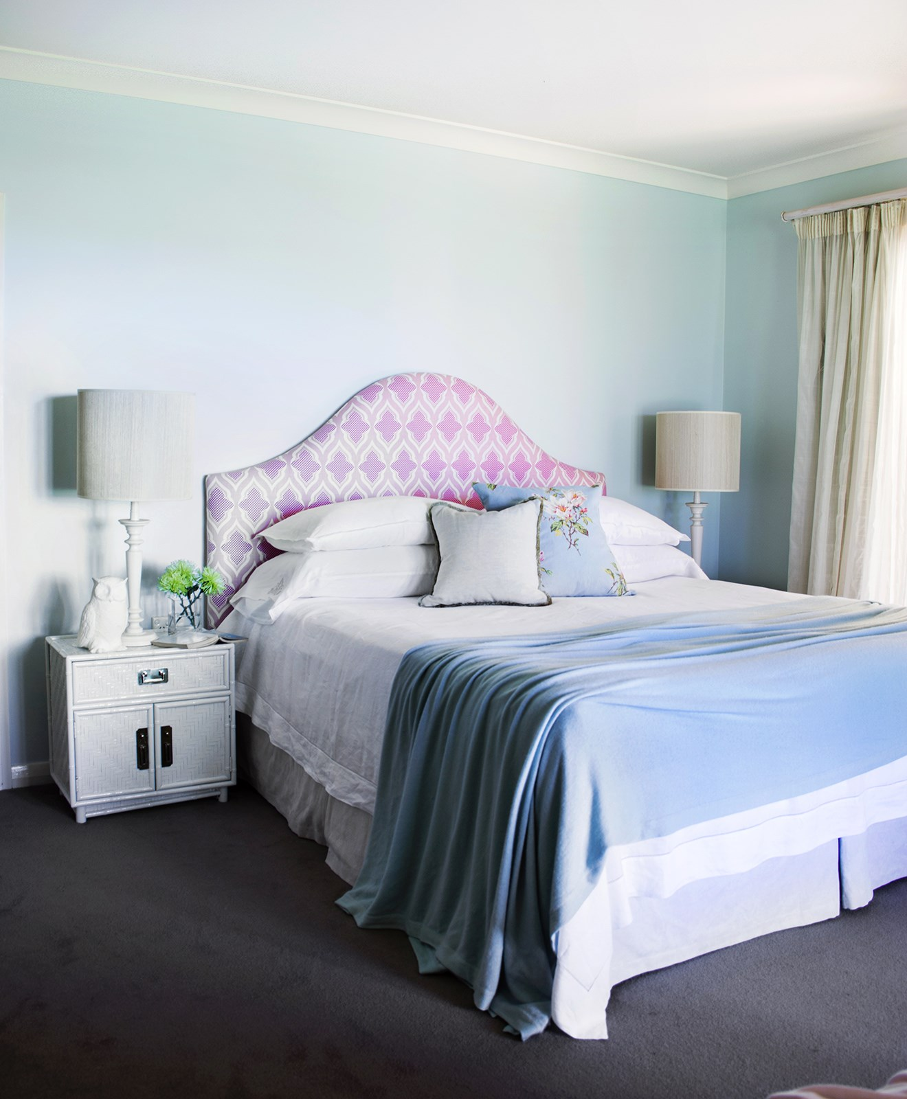"Pastel hues including a bedhead upholstered in [Christopher Farr Cloth](http://www.christopherfarrcloth.com/?utm_campaign=supplier/|target=""_blank"") 'Moorish' fabric create a dreamy vibe in the bedroom of this [charming country homestead](http://www.homestolove.com.au/gallery-charles-and-angelas-country-homestead-1818