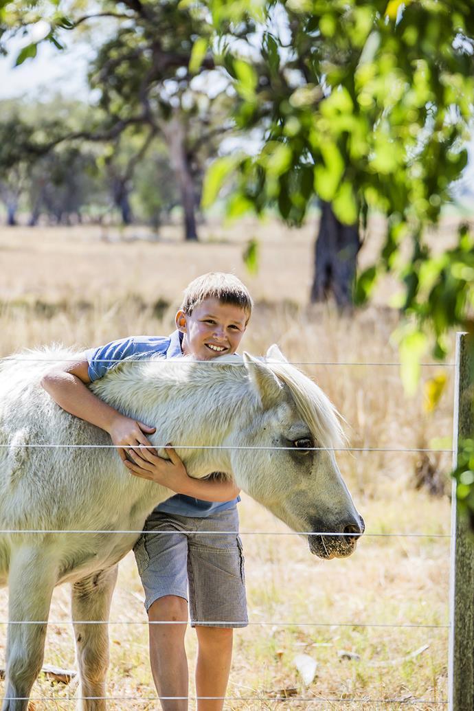 Hamish with the family's beloved Shetland pony, Houdini.