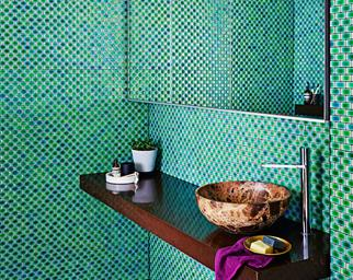 Aqua marine tiled bathroom