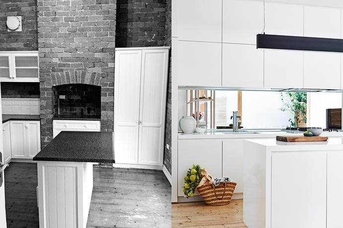 **BEFORE AND AFTER**: Exposed-brick walls and the original fireplace flue had to be removed to install full-height kitchen cabinetry.  To break up the expanse of white in the kitchen a long, black suspended light from Light Project was installed above the island bench. Existing pine boards were stripped back and limed to achieve a soft look. Photo (right): Alicia Taylor