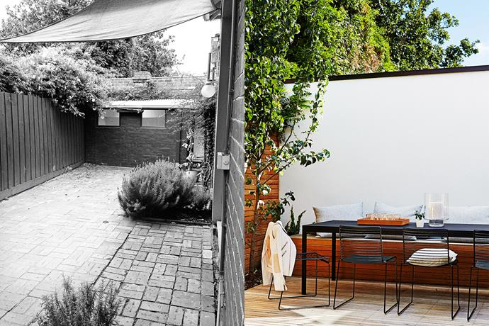 **BEFORE AND AFTER**: The outdoor area was a sea of bricks and a few shrubs, with little connection between indoors and out. Now the family has a great outdoor entertaining area. Photo (right): Alicia Taylor