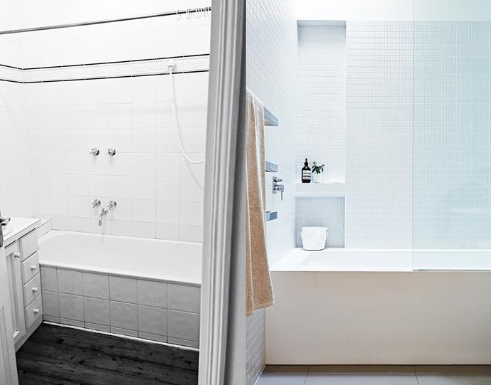 """**BEFORE AND AFTER**: The original bathroom was functional but didn't provide much joy or relaxation in its former state. Now, a Mizu Soaker bath from [Reece](http://www.reece.com.au/