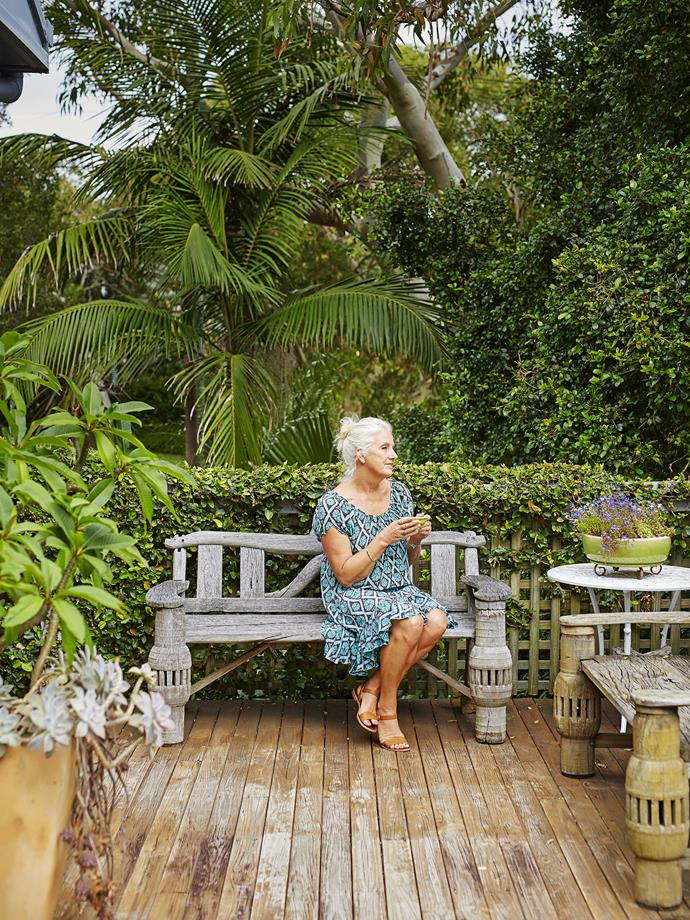 Di loves to spend time on the deck overlooking her pride and joy – the garden she's lovingly tended for nearly 40 years.