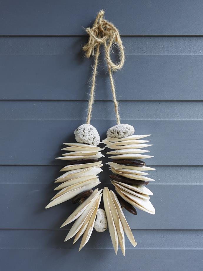 Beachy finds make a great decoration when strung on rope.