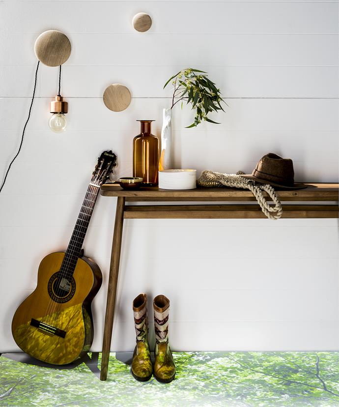 "As music was an important part of the Shakers' lives, take their cue and decorate your living area with a musical instrument. But don't over-accessorise – use baskets to store bits and pieces to maintain a clean style.   The Dots **hooks** in Oak by Muuto from [Great Dane](http://www.greatdanefurniture.com/|target=""_blank""). Copper **light** C2 flat from [Workshopped](http://www.workshopped.com.au/