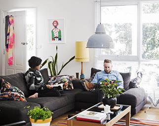 Art filled living room