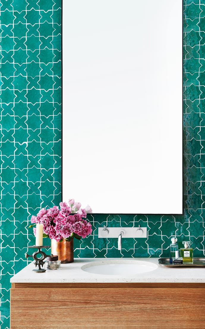 """This was built as a guest bathroom in a new addition to an old cottage in Sydney's Balmain,"" says designer Sarah Davison. ""The owners wanted a memorable bathroom with strong colour – a quite refreshing, unusual approach as many people want neutral bathrooms.""   Casa handmade Malak light green **tiles** and Aren Bianco raw sawn limestone **vanity top** from [Onsite Supply & Design](http://www.onsitesd.com.au/