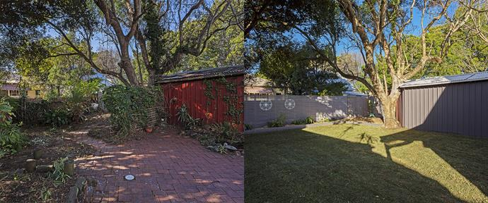 """**BEFORE AND AFTER:** The garden was filled with dead vegie patches, old paving stones and weeds – it lacked structure and definition. """"Clearing the site, installing and planting the garden beds and rolling out the turf can be tackled by most DIYers,"""" Cherie says."""