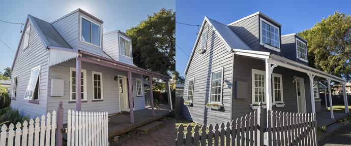 **BEFORE AND AFTER**: The building needed a paint update to tie the outdoor look together. The house gained a modern and punchy exterior colour scheme of charcoal with contrasting off-white for the trims