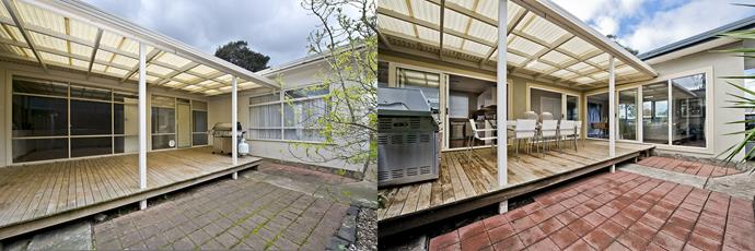 **BEFORE AND AFTER:** The house had a west-facing side pergola, but with limited access from inside. Installing sliding doors made it accessible from all three sides, transforming the space into a practical outdoor entertaining area.