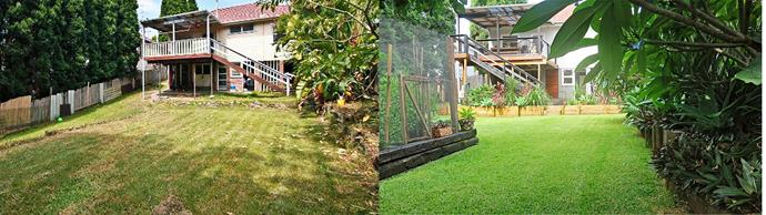 **BEFORE AND AFTER**: The sloped yard was impractical so Jess and Matthew levelled the block by building new retaining walls and garden beds.