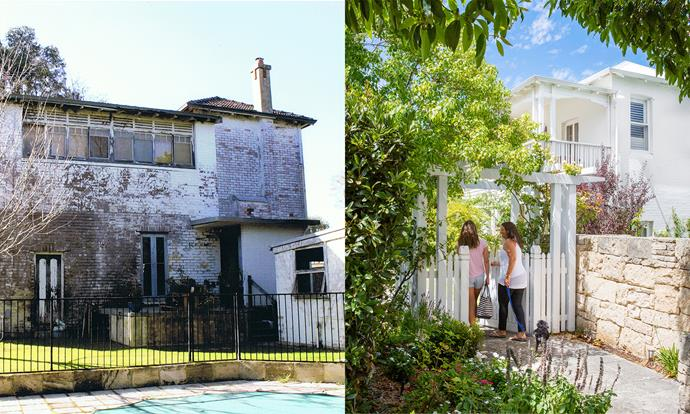 """**BEFORE AND AFTER:** The house in its original condition was looking pretty sad. """"I think a lot of people would have bulldozed,"""" says Rebecca. Now the home is much loved and lovely and bright. Photo (right): Angelita Bonetti"""