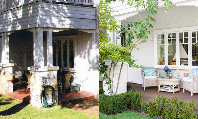 """**BEFORE AND AFTER**: """"The garden was a just a patch of dirt when we finished building but the landscapers did such a great job that it looked established after just 12 months,"""" says Rebecca. Photo (right): Angelita Bonetti"""