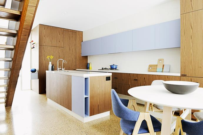 "The kitchen was finished in a combination of two [Laminex](http://www.laminex.com.au/|target=""_blank"") colours, Calypso Blue and Sublime Walnut. Dining chairs from [Life Interiors](http://www.lifeinteriors.com.au/