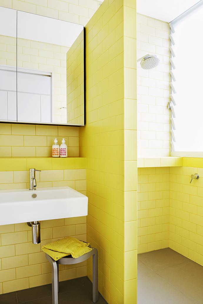 "Scott loves to finish bathrooms in bright colours. ""I call it Vitamin C – it's like you're in a glass of Berocca,"" he says of this one. ""These bathroom tiles from [Classic Ceramics](http://www.classicceramics.com.au/