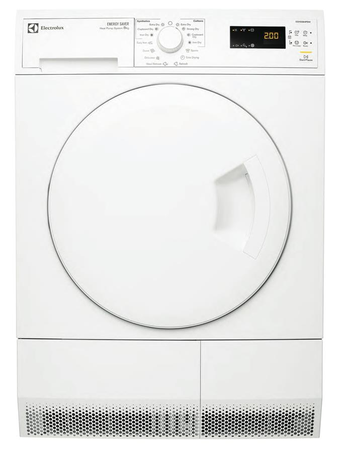 **Electrolux EDH3284PDW 8kg heat pump dryer, $2019**  6-star energy rating  Using less than half the energy of a standard condenser model, this dryer activates humidity sensors three times during the drying cycle to ensure energy draw is minimised. It also has an auto-off function.