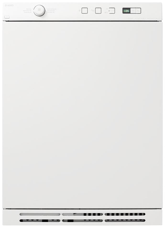 **Asko T754CHP 7kg heat pump dryer, $2199**  6-star energy rating  Asko reports that using a condenser dryer once a week costs $76/year, while a heat-pump dryer cuts that to $42/year. In this model, sensors calculate the drying time so no excess energy is used.
