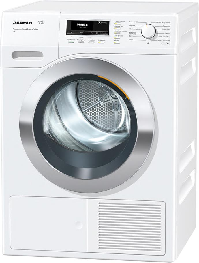 **Miele T1 TKG 450 WP 8kg heat pump dryer, $2899**  6-star energy rating  Aided by EcoFeedback functionality, which reads and forecasts energy consumption, this heat pump dryer alerts its owner when the filter needs cleaning (this is crucial for cutting consumption).