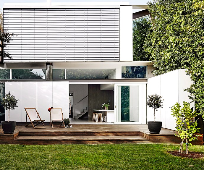 Backyard with timber decking