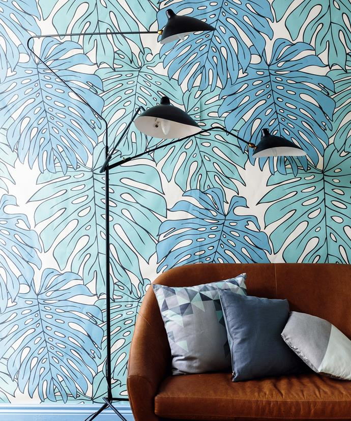 "Conjure the serene shade of a forest floor using layered prints in tranquil blue and turquoise. A multi-level floor lamp adds to the atmosphere, as light filters down from its branches.  Love Supreme Life Is Delicious **wallpaper** in Forest from [Emily Ziz Style Studio](http://www.emilyziz.com/|target=""_blank""). Manhattan **floor lamp** in Black from [Clickon Furniture](http://www.clickonfurniture.com.au/