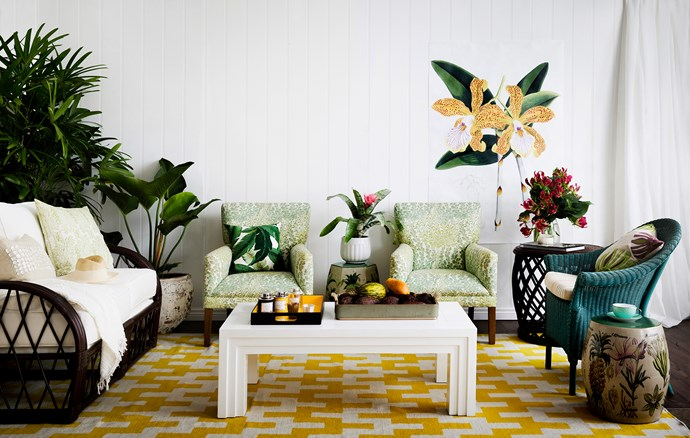 "Team upholstered pieces and curvy rattan furniture for a satisfying blend of style and comfort.  **FROM LEFT:** Stuart Membery Home Beachcomber **rattan loveseat** from [East Coast Lounge](http://www.eastcoastlounge.com.au/|target=""_blank""). Jonathan Adler Stepped Chevron wool-cotton **rug** and Pico **armchairs** with cotton upholstery in GP&J Baker Leaf Cascade, all from [Coco Republic](http://www.cocorepublic.com.au/