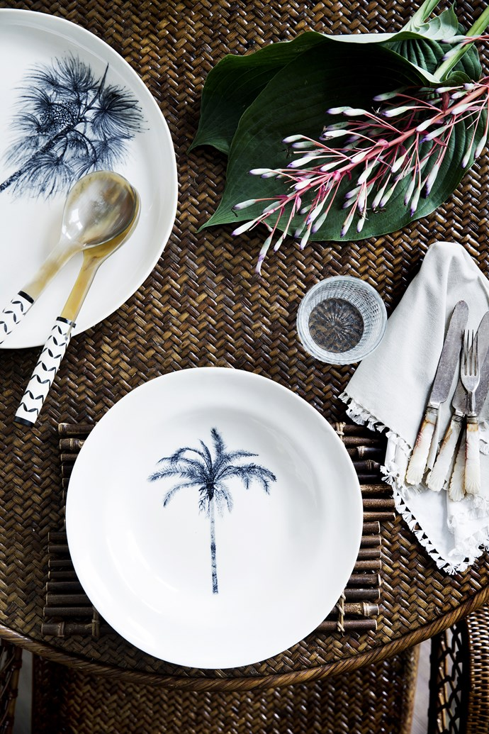 "Bring a touch of the tropics to entertaining with palm motifs and bone and horn servingware.  Chin Chin Trader Palm Tree porcelain **platters** from [East Coast Lounge](http://www.eastcoastlounge.com.au/|target=""_blank""). Bamboo **placemat** and bone and horn **salad servers** from [Henry Corbett & Co](http://www.henrycorbett.com/