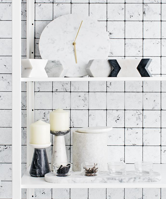 """Bookshelves make great bathroom storage.  Menu marble **clock** from [Top3 By Design](https://www.top3.com.au/