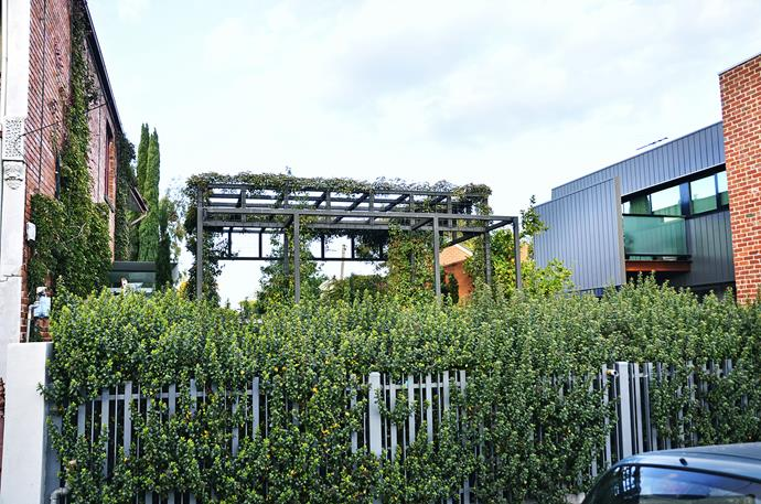 At the front of the block council regulations required a low fence and a reference to the previous dwelling – hence the pergola structure.