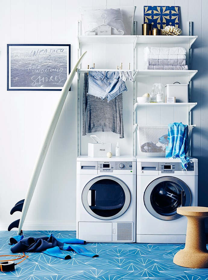 """Ocean hues teamed with fresh white is the perfect scheme for a laundry. It's crisp, clean – and conducive to washing!   Algot wall upright **shelving** system in White, and Algot **mesh basket**, both from [Ikea](http://www.ikea.com.au/