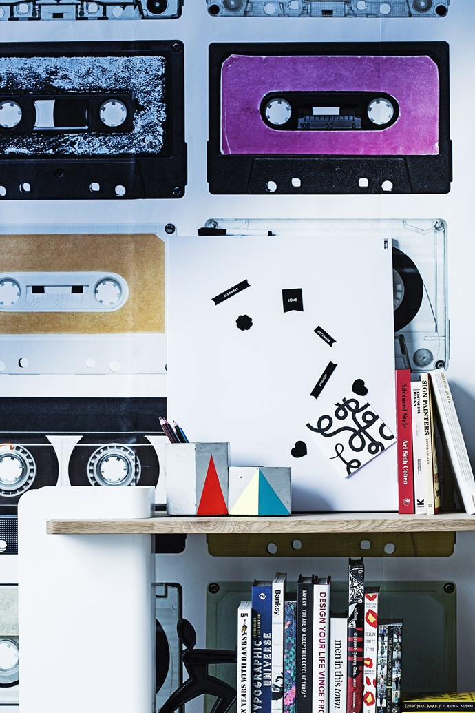 "This cassette wallpaper is a Hipsters dream come true.   Magnetic **whiteboard** from [Kikki.K](http://www.kikki-k.com/|target=""_blank""); holding Flux card, [Citta Design](http://www.cittadesign.com/