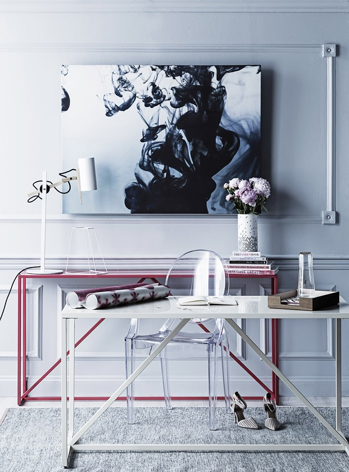 "Channel Parisian chic with crisp white furnishings and a dark and moody print that dominates this girly space.  Inky abyss Strut medium **table** in Ivory and Strut **console** in Watermelon from [Blu Dot](http://www.bludot.com.au/|target=""_blank""). Replica Philippe Starck Louis Ghost **armchair** in Clear, [Matt Blatt](http://www.mattblatt.com.au/
