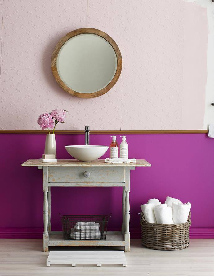 "Brighten up the bathroom with bursts of vivid violet. Textured, paintable wallpaper adds a tactile element.   **PAINT PALETTE:** Wallpaper painted in Eggshell Acrylic in Pretty in Pink, dado rail in Rose Gold, and wall in Monkey Magic, all from [Porter's Paints](http://www.porterspaints.com/|target=""_blank"").   Petal textured paintable **wallpaper** from [Wall Candy Wallpaper](http://www.wallcandywallpaper.com.au/